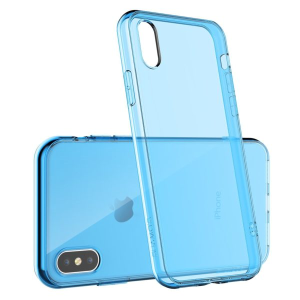 Coque en silicone iPhone X bleu transparent