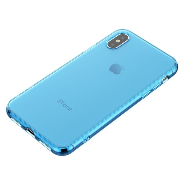 Coque en silicone iPhone X bleu transparent3