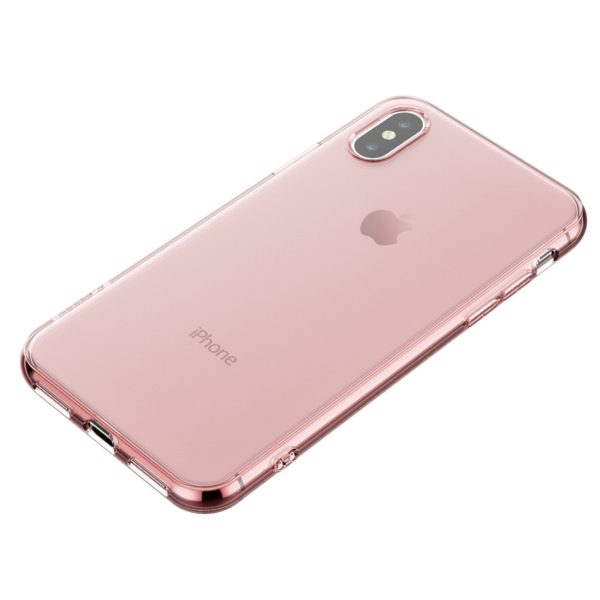 Coque en silicone iPhone X rose transparent2