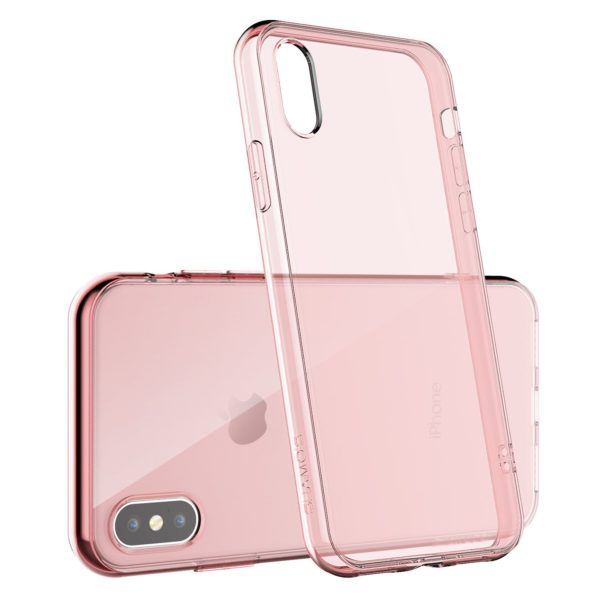 Coque en silicone iPhone X rose transparent3